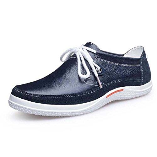ZXCV Zapatos al aire libre Zapatos de los hombres zapatos salvajes cómodos salvajes zapatos de encaje de cuero zapatos de los hombres Azul
