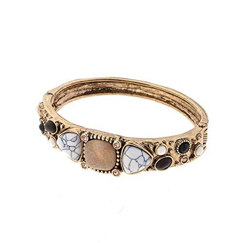 Hemlock Multi-Layer Bracelets for Women, Metal Bracelet Boho Vintage Bangles Beads Pendant Bracelet (D)