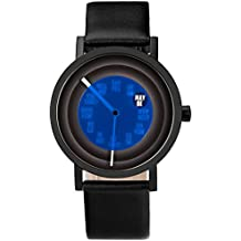 Projects Unisex Foretell 40MM Timepiece Wrist Watch w/Black Leather Band (Black)