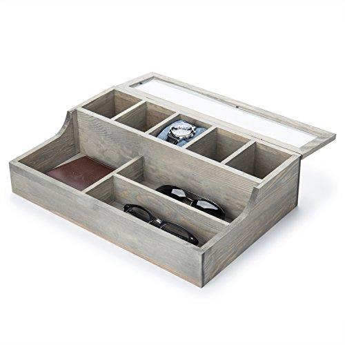 MyGift Vintage Graywashed Wood Watch & Personal Valet Organizer Box