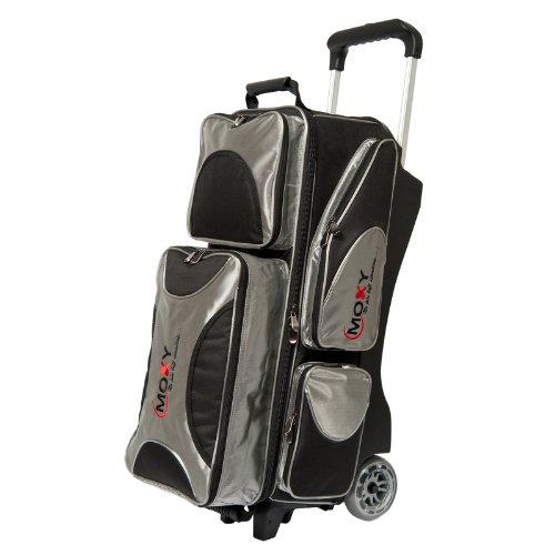 Moxy Deluxe Triple Roller Bowling Bag, Silver/Black by Moxy