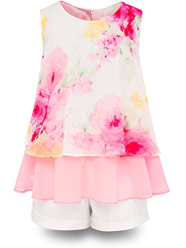 Bonny Billy Big Girls' Short Set Flower Tank Tops and Solid Pants 2 Pcs Clothes for Kids 7-8 Years Pink