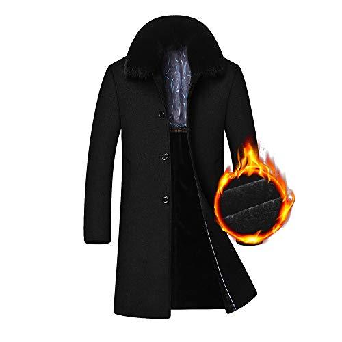 Uomo In Da Inverno Nero Con Slim Bottoni Fashion Woollen Zolimx black Termica Lana Invernale Resistente Uomo Cappuccio Giacca Parka nwqxHzq8Y