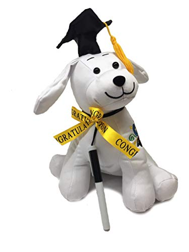 Graduation Autograph Dog With Pen, Black Hat - Congrats Grad! - Hound Dog Gift Toys for Graduate Student Party -