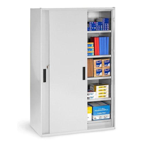 "Tennsco Sliding Door Storage Cabinet - 48""Wx27-1/4""Dx78""H - Light Gray - Light Gray"