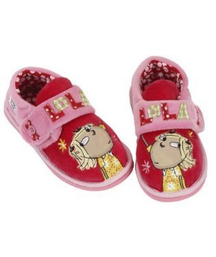 Charlie & Lola Girls Slipper Soft Warm Winter Shoes - Pink and Red, Great for Halloween Kid Shoe Size 4