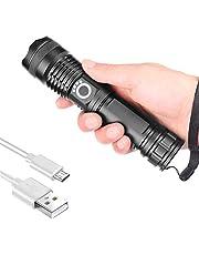 Krachtige oplaadbare led-zaklamp XHP50 led-zaklamp, super helder, handzaklamp, zoombaar, waterdicht, campingfakkel voor thuis en outdoor-activiteiten