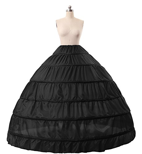 [MISSYDRESS Full A-line 6 Hoops Floor-length Bridal Dress Gown Slip Petticoat Black] (Sexy Halloween Dress Up)