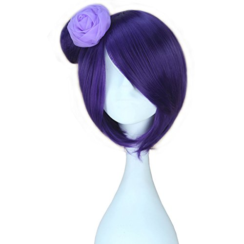 Wig Lolita Costumes Purple (Miss U Hair Adult Child Short Straight Purple Lolita Cosplay Wig with Bun)