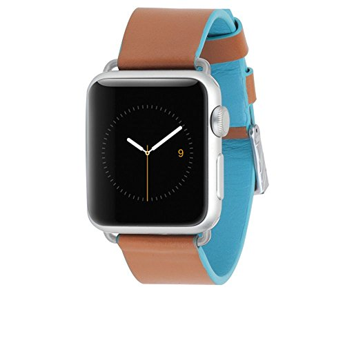 Case-Mate Apple Watch  Band for Series 1 and Series 2 - 38mm Edged Leather Band for Series 1 and Series 2 - Brown/Black
