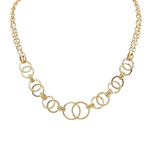 14k Yellow Gold Double Strand Textured Link Necklace, 17 Inches