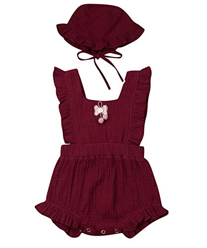 Newborn Infant Baby Girl Clothes Lace Halter Backless Jumpsuit Romper Bodysuit Sunsuit Outfits Set (Pompom Cotton Romper with Hat-Wine Red, 6-12 Months) -