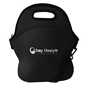 Neoprene Lunch Bag - 6 x 12 x 12 - Black Leak Proof Thermal Lunch Tote - Thick Stitch Insulated Lunch Bag for Women, Kids or Men - Perfect for Travel, School or Work - Easy Clean
