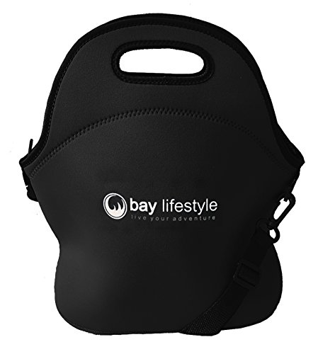 Neoprene Lunch Bag - 6 x 12 x 12 - Black Leak Proof Thermal Lunch Tote - Thick Stitch Insulated Lunch Bag for Women, Kids or Men - Perfect for Travel, School or Work - Easy (Cowboy Dome Lunch Box)