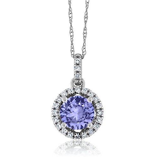 14K White Gold Diamond Halo Pendant with 1.02 Ct Round Blue Tanzanite (14k Pendant Tanzanite)