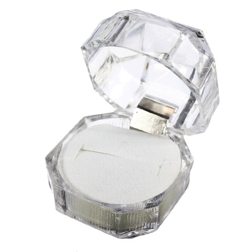 Acrylic Ring Earrings Jewelry Crystal Box Storage Gift Case Display Transparent (Crystal Box Ring)