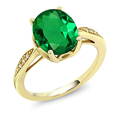 14K Yellow Gold Green Simulated Emerald and Diamond Ring (2.24 Ct Oval Available in size 5, 6, 7, 8, 9)