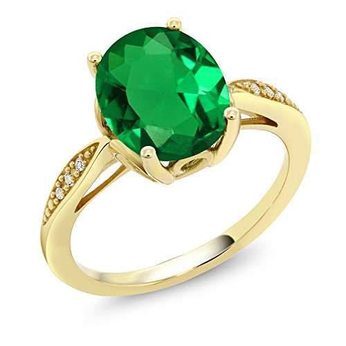 Gem Stone King 14K Yellow Gold Green Simulated Emerald and Diamond Ring 2.24 Ct Oval (Size 5)