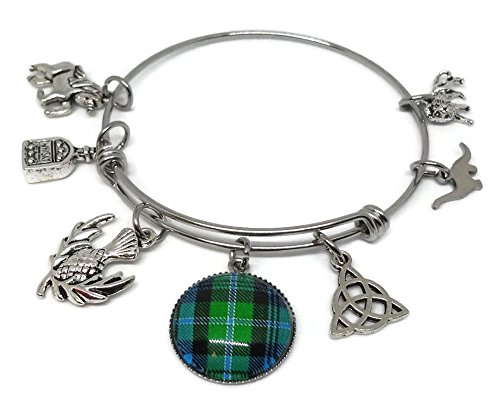 Scottish Charm Bracelet with Plaid Photo Glass Cabochon - Scotland Symbols Bangle with Thistle, Nessie, Knot, Whisky...