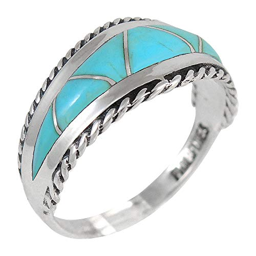 Turquoise Ring Sterling Silver 925 Genuine Gemstones Size 6 to 11 (Turquoise) (6) ()