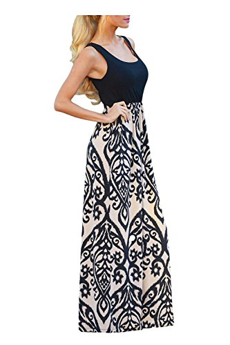 Aifer Womens Summer Boho High Waist Print SleevelessTank Top Beach Long Maxi Dress - Maxi Dresses For Women For Church