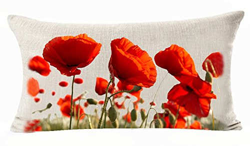 Enchanting Beautiful Red Poppy Flowers Garden Gift Anniversary Day Present Cotton Linen Home Office Decorative Throw Waist Lumbar Pillow Case Cushion Cover Rectangle 12 X 20 (Arch Red Cotton)