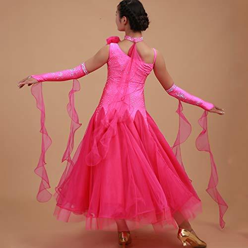 Jupe Les Valse De Pour Bal Tango Rose Robes Moderne Femmes Performance Danse Concours Wqwlf Salle Lisse Costumes xxl Extensible qxIwYf8x