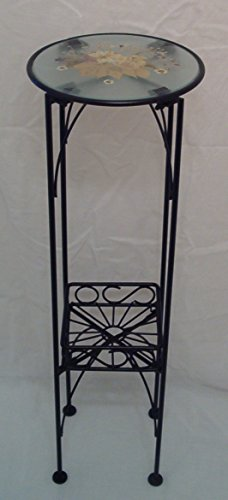 8.5' Glass (Floor Metal Stand with Glass Top and Basket, Black, 26.75