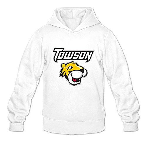Towson Tigers VAVD Male's 100% Cotton Hoodies White Size XL