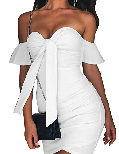 Opperiaya Women's Ruched Off Shoulder Bodycon Deep V Neck Wrap Club Mini Dress (White, M) (Dress Ruffle Front)