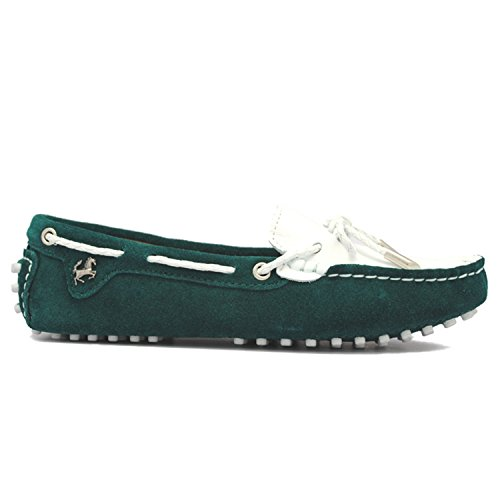 Minishion Girls Mujeres Casual Knot Suede Slip-on Flats Driving Boat Zapatos Mocasines Jade Verde / Blanco