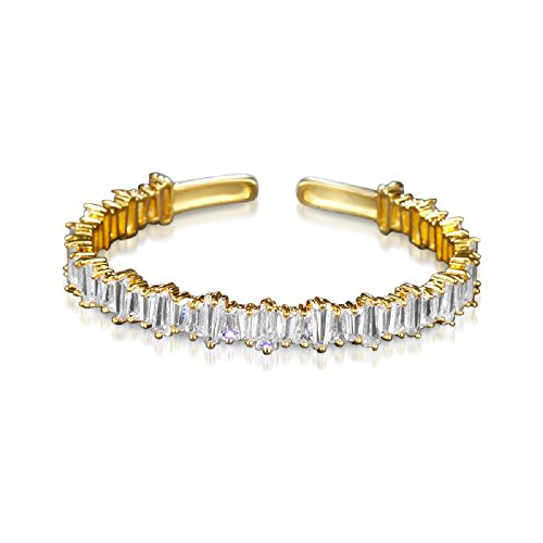 (DIANE LO'REN 18KT Gold Plated Baguette Cubic Zirconia Crystal Cuff Bangle Bracelet for Women (Yellow))