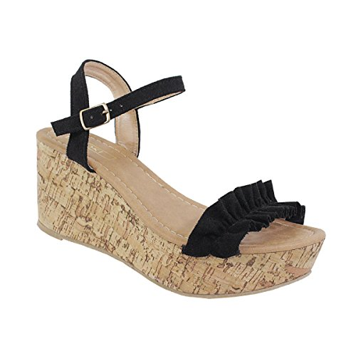 Yoki Women's Ruffle Front Ankle High Buckle Strapped Cork Platform Open Toe Wedge Beach Carrin-40 Sandals (8.5, Black) - Buckle Strapped Platform