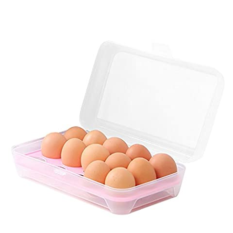 Egg Tray for Refrigerator,15 Eggs Tray Holder with Lid,Portable Shatter-proof Covered Egg Container/Box/Case/Carrier/Crate/Dispenser for Camping,Plastic Stackable Storage Organizer/Bin (Pink)