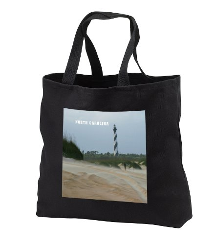 - Florene America The Beautiful - View of Cape Hatteras Lighthouse On Outer Banks - Tote Bags - Black Tote Bag JUMBO 20w x 15h x 5d (tb_80422_3)