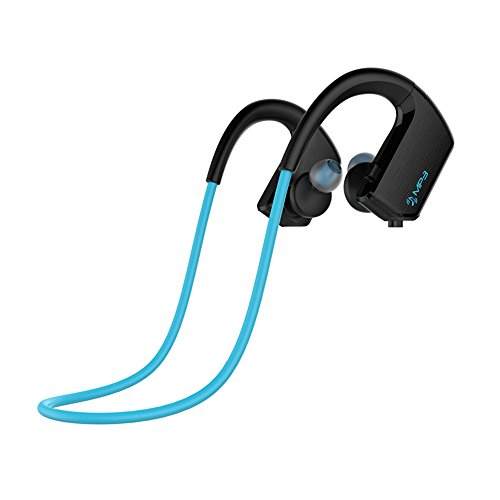 YeahMore Bluetooth Headphones MP3 player Best Wireless Sports Earphones w/ Mic IPX7 Waterproof HD Stereo Sweatproof Earbuds for Gym Running Workout 8 Hour Battery Noise Cancelling Headsets-Blue