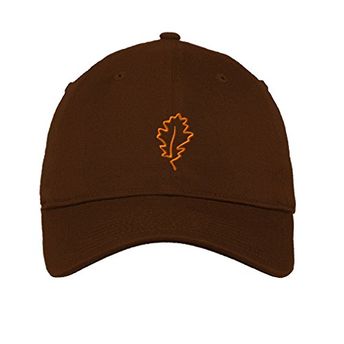 Speedy Pros Cotton 6 Panel Low Profile Hat Plants Oak Leaf Tree Embroidery Brown