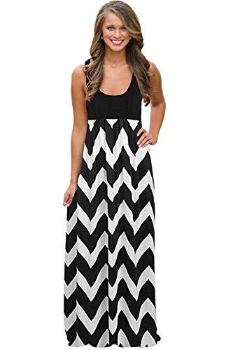 (Womens Tank Top Long Maxi Dresses Summer Boho Empire Chevron Tank Top Casual Beach Dresses (A-Black(New),)