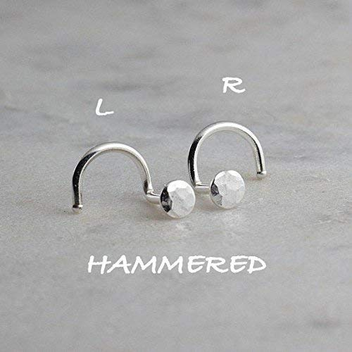 Sterling Silver Nose Hoop Stud Hammered Silver Nose Ring 3mm 20g by Fashion Art Jewelry