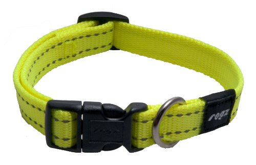 ROGZ Reflective Dog Collar for Medium Dogs, Adjustable from 12-17 inches, Yellow