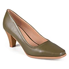 Add classic style to your wardrobe in heeled pumps by Journee Collection. These vintage-inspired shoes highlight richly colored faux leather uppers with subtle top-stitched detail. Squared-off toes and small stacked heels finish the look.