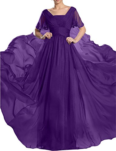 Abendkleid Partykleid A Traube Damen Promkleid Linie Festkleid Aermel Kurz steine Hochwertig Ivydressing Chiffon 4aq8Sq