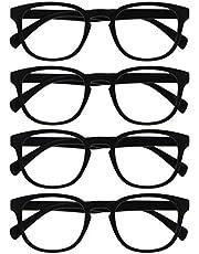 Opulize Pop 4 Stuks Zwart Purper Afstand Bril Kortzichtig Bijziendheid Retro Ronde Mannen Vrouwen Scharnieren Veer MMMM2