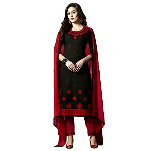 58c478704cde Black - Red Cotton Pant Style Thread Embroidered Un-Stitched Dress Material:  Amazon.in: Clothing & Accessories