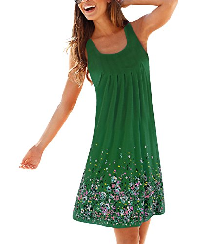 Women Fashion Floral Sun Long Dress(Green) - 6