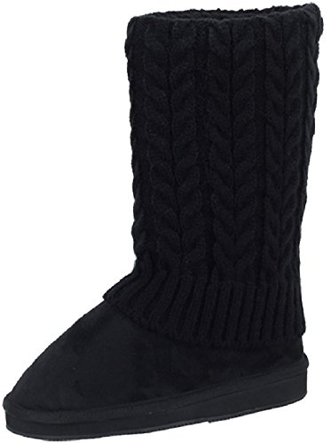 amby Women's Rib Knit Sweater Boot Black 91011