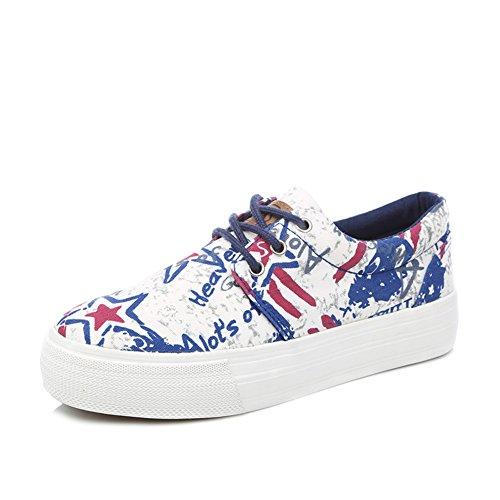 Zapatos de lona mujer/Estudiantes con plano casuales zapatos/Atlético del cordón/Zapatos graffiti espesor de torta C