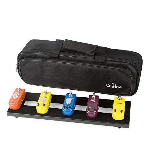 Caline Mini Guitar Pedal Board Case Aluminum Pedalboard with Carry Bag Black CB-107 Christmas Gifts