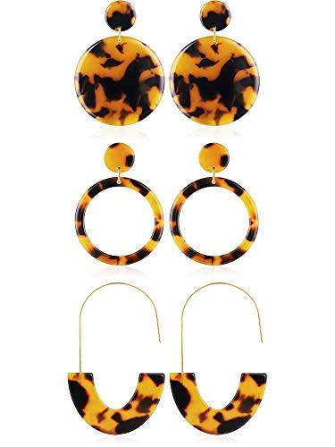 Jovitec 3 Pairs Tortoise Shell Hoop Earrings Acrylic Resin Earrings Mottled Earrings Jewelry for Women Favors (Style 7)