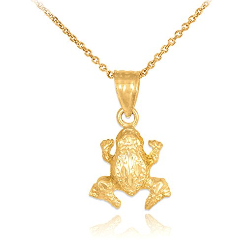 14k Yellow Gold Textured Frog Charm Pendant Necklace, 16
